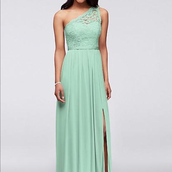 86f9c6926a4 David s Bridal Dresses   Skirts - LONG ONE SHOULDER LACE BRIDESMAID DRESS